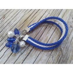Blue and white bracelet